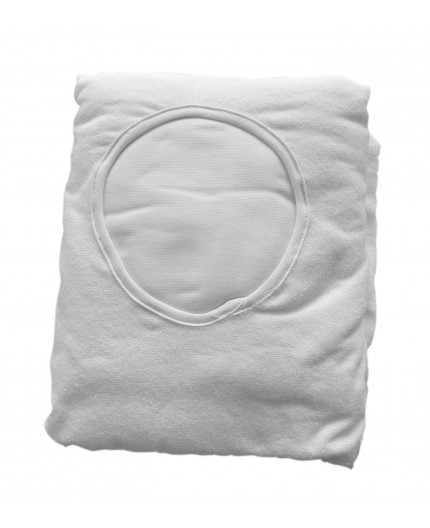 Couch cover in washable cotton towelling, with face hole, WHITE 260gr-m2